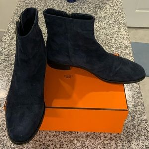 Navy Blue Suede Ankle Boots Sz40/US10
